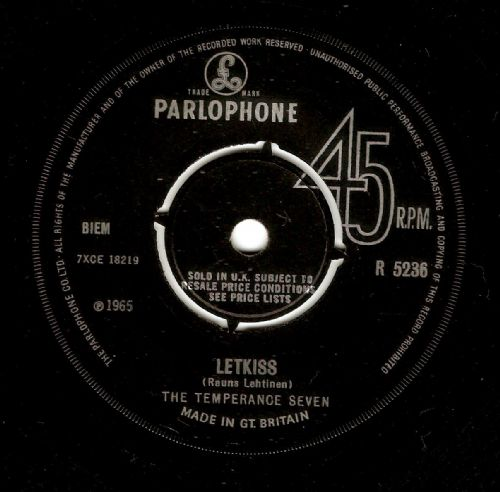 THE TEMPERANCE SEVEN Letkiss Vinyl Record 7 Inch Parlophone 1965